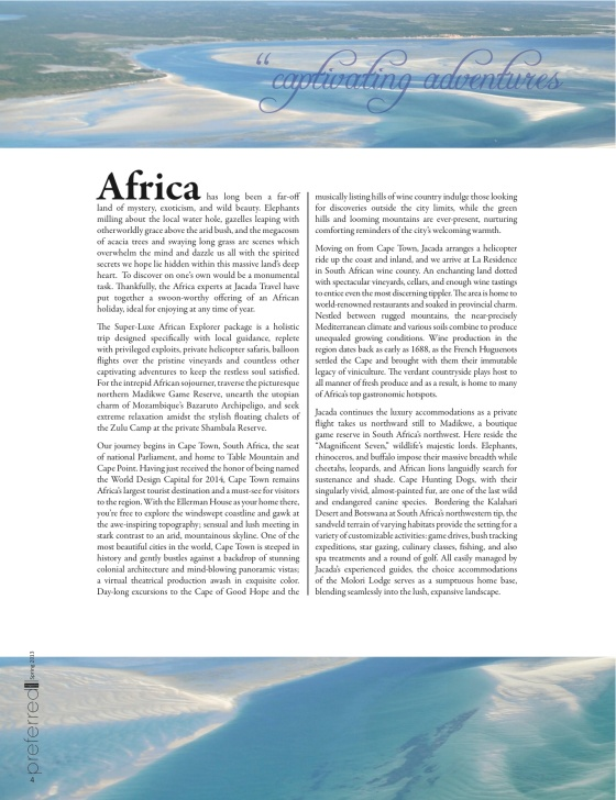 The Stylish Sojourner in Print, Africa's Sumptuous South