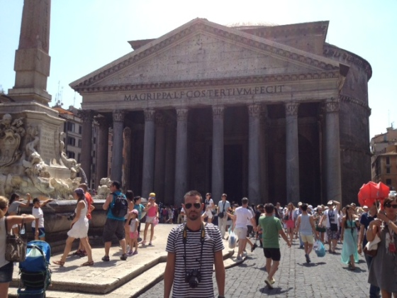The Stylish Sojourner in front of the captivating Pantheon, an unbelievable mass of stone constructed in 29 BC.